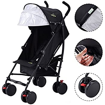 Premium Baby Umbrella Strollers For Lightweight Use, for Infants Toddlers Kids Travel, with Extended Sun Canopy Hood to Add More Protection, Comes with Storage Basket - Black