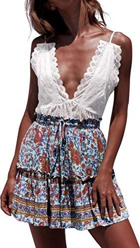 katiewens Women's Boho Floral Printed High Waist Ruffle Elastic Cute Casual Mini Skirt ()