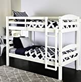 Bunk Beds Twin Over Twin Kids Furniture Bedroom Sets, Solid Hardwood with Built-In Ladder,Converts Into 2 Twin Beds, Color White