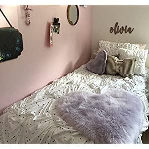 Machine Washable Faux Sheepskin Lavender Heart Rug 28″ x 30″ – Soft and Silky – Perfect for Baby's Room, Nursery, playroom – Fake Fur Area Rug (Heart Lavender)