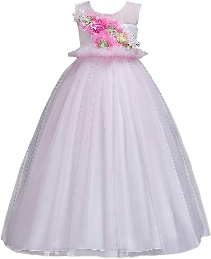 Matrimonio Bambina Vestito Fiore Comunione Party Princess Elegante da Damigella