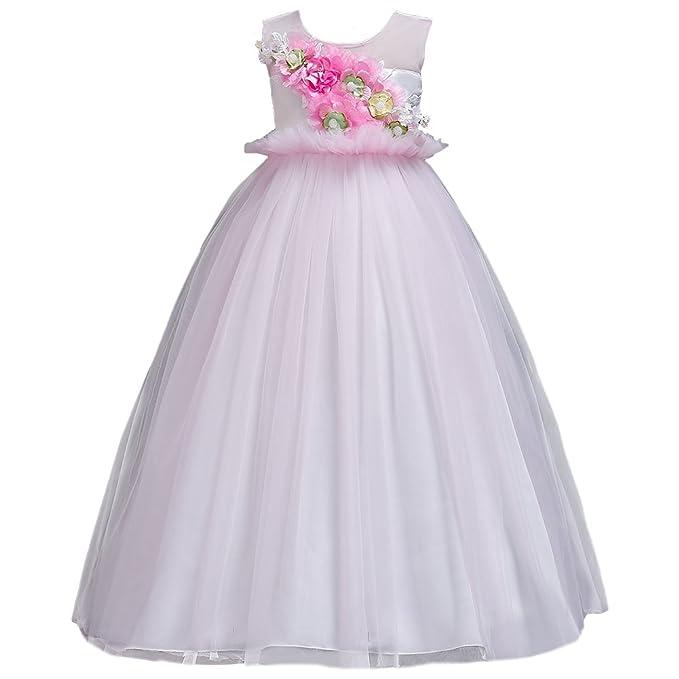 Princesa Vestido de niña de Flores para la Boda Sin Mangas Vestidos de Dama De Honor