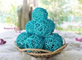 Thailand's Gifts : Small Light Blue Rattan Ball, Wicker Balls, DIY Vase And Bowl Filler Ornament, Decorative spheres balls, Perfect For Decoration And Party 2.5 inch, 12 Pcs.