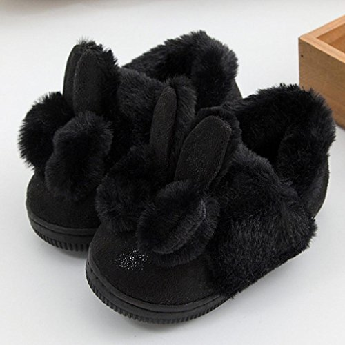 HUHU833 Neuer Kinder Mode Mädchen Leater Bowknot Rubber Soft Sole Snow Boots Soft Crib Shoes Toddler Boots Schwarz