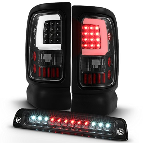 For [LED Set] 94-01 Dodge Ram Black Bezel C-Shape Light Tube Tail Lights + 3rd Brake Lamp -