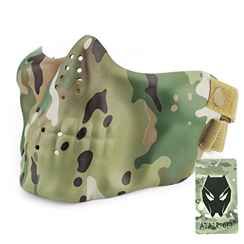 ATAIRSOFT Tactical Airsoft Paintball Zombie Skull Protective Half-face Mask (Halloween Costume Bulletproof Vest)