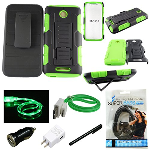 For HTC DESIRE 510 (Sprint/Boost Mobile/Virgin Mobile), Mstechcorp, Advanced Armor Hard Hybrid Case Cover Military Stand Holster Locking Belt Swivel Clip Combo Case - With Accessories (Armor Green) (Htc Desire 510 Case Belt Clip compare prices)