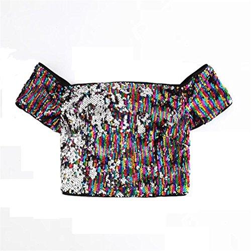 Muestra Cuello Manga color Muestra Y Lentejuelas Hombros Mujer Para Se Camiseta Como Corta Metro Yisaesa Tamaño Alto De Descubiertos Con a8EpCwqx