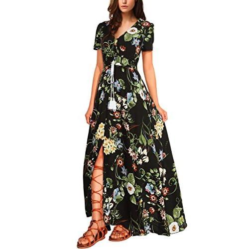 23895ff394891 well-wreapped DJT FASHION Women s Button up Split Tassel Floral Print Party  Beach Maxi Dress