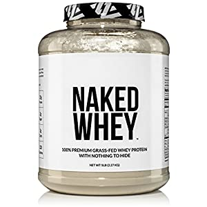 NAKED WHEY 5LB 100% Grass Fed Whey Protein Powder - US Farms, #1 Undenatured, Bulk, Unflavored - GMO, Soy, and Gluten Free - No Preservatives - Stimulate Muscle Growth - Enhance Recovery - 76 Servings
