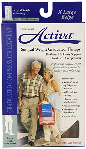 (Activa Surgical Weight 30-40 mmHg Thigh High Socks with Band, Beige, X-Large,)