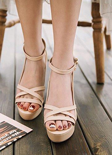 Mode Bout Sandales Hauts Femme Ouvert Beige Aisun Orteil Talons npg5Uw7x