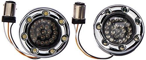 Custom Dynamics BTRC-AW-1157-S LED Turn Signal (Chrome Housing Amber/White/Smoke Bullet Ringz (1157 - Signal Kit Street Led