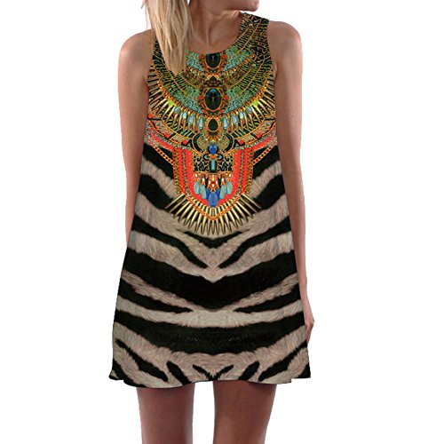 Zebra Print Sleeveless Dress - 8