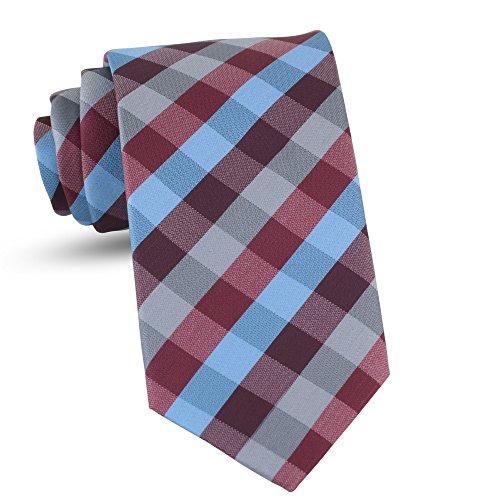 Handmade Plaid Ties For Men Skinny Woven Burgundy Slim Gingham Mens Ties: Thin Tie & Necktie, Stylish Neckties For Every ()