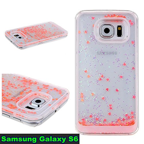 Hard Case For Women Samsung Galaxy S6 Hearts-Watermelon Pink Glitter Case for Galaxy S6, Gravydeals® Luxury Flowing Glitter Hearts Bling Quicksand Liquid Case Protective Clear Hard Case Cover for Sam