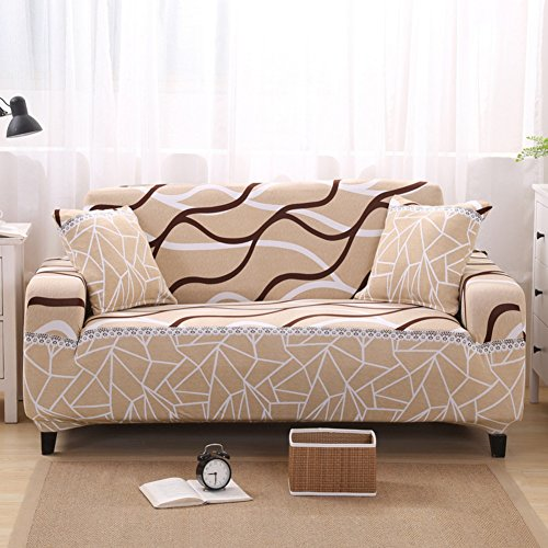 (DW&HX Lace Sofa Cover,1-Piece Elastic Polyester Couch Cover Anti-Slip Furniture Protector with Elastic strapsfor 1 2 3 4 Cushions Sofas-Beige-Beige Pillowcase 45x45cm(18x18inch))