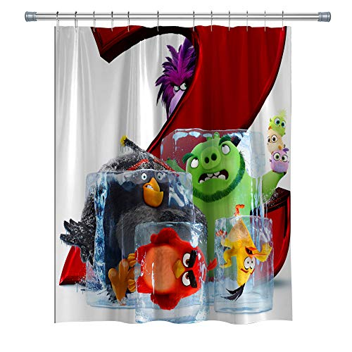 Elite ETSPY Angry Birds 2 Shower Curtains, Waterproof Polyester Fabric Shower Curtain for Bathroom, 3D Print Decor Shower Curtain Set with Hooks, 71X 71 in (Angry Bird Curtains)
