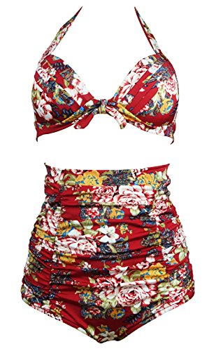 COCOSHIP Retro Burgundys & Peony Floral Halter High Waisted Bikini Bathing Suit Swimsuit XL(FBA)