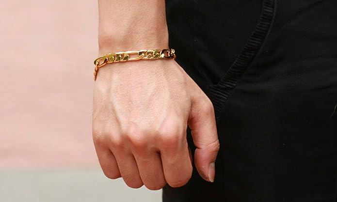 bbcf9428e6d6 AnaZoz Joyería de Moda Pulsera de Hombre Pulsera Brazalete Link Para Hombre  18K Chapado en Oro Compromiso de Boda Personalidad Simple Color Oro   Amazon.es  ...