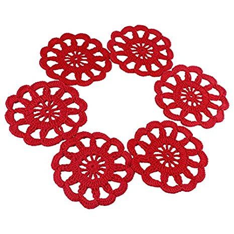 """6pcs rojo 4 """"Crochet posavasos de encaje de algodón tapete"""