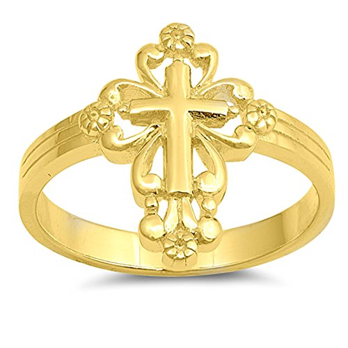 Gold-Tone Victorian Cross Christian Ring New 925 Sterling Silver Band Size 8