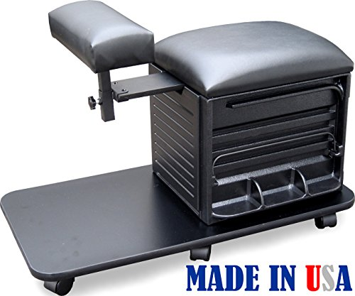 2317-FF Salon Spa PEDICURE NAIL STATION STOOL w/Footrest Made in USA by Dina Meri by Dina Meri