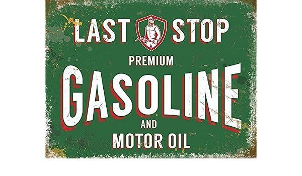 Último Pare Gasolina. Premium. Motor aceite Gasolina firmar, estación, coche, moto. automotriz. Verde y blanco, texto. Viejo retro vintage anuncio Firmar, ...