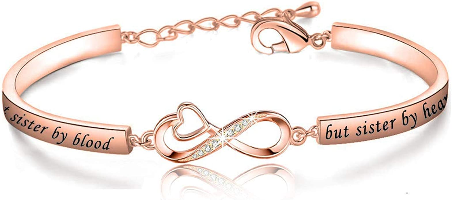 Not Sister by Blood But Sister by Heart Gift Best Friend Jewelry for Unbiological Soul Sister BFF Friendship Bracelets for Women Girls