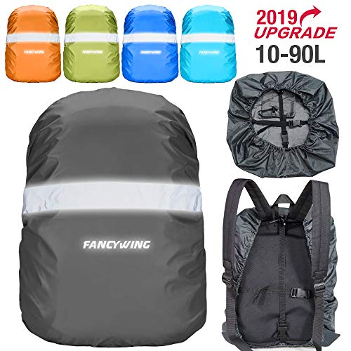 FANCYWING Waterproof Backpack Rain Cover with Reflective Strap, Upgraded 10-90L Non-Slip Rainproof Backpack Cover for Hiking, Camping, Hunting, Rain Cycling, Gray, Large