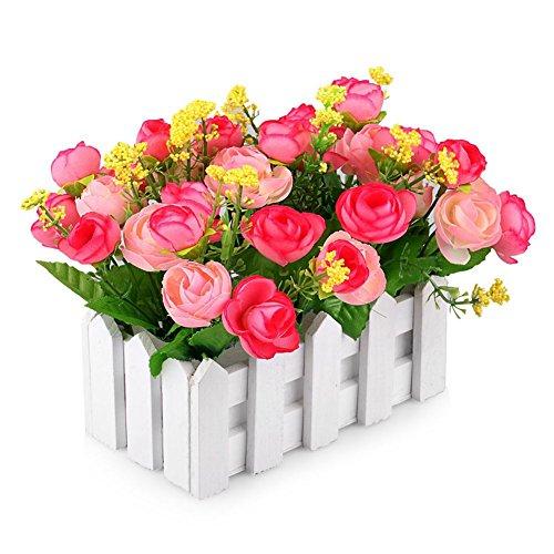 JAROWN White Picket Fence with Silk Rose Artificial Flowers Mini Garden Wooden Vase Fake Plants for Desktop ()