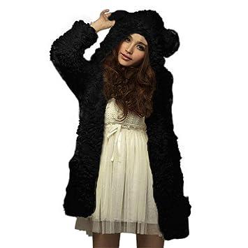FuweiEncore Abrigos para Mujer Chaqueta Outwear Abrigo de Invierno Mujer Manga Caliente Chica Invierno Sudadera Suelta Chaqueta Robusta Suéter Lindo Abrigo ...