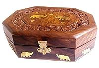 Store Indya Majestic Wooden Jewelry Box Organizer Keepsake Storage Chest Hand Carved with Elephant Brass Inlay