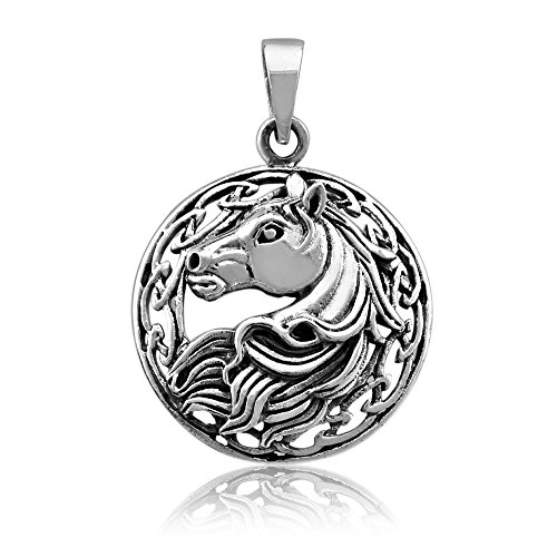 - WithLoveSilver Solid Sterling Silver 925 Charm Round Celtic Horse Pendant