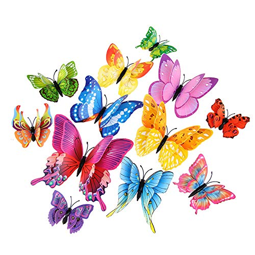 MINI-FACTORY 12PCs 3D Vivid Butterfly Wall Decoration DIY Art Craft Decor Stickers Kid's Room for Girls - Pink (Multi-Colored) - Mini Wall Stickers