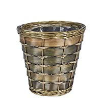 Household Essentials ML-2215 Small Decorative Wicker Waste Basket | Haven Willow and Poplar | Natural Dark Brown