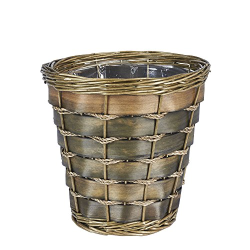Household essentials wicker bathroom waste basket round for Waste baskets for bathroom