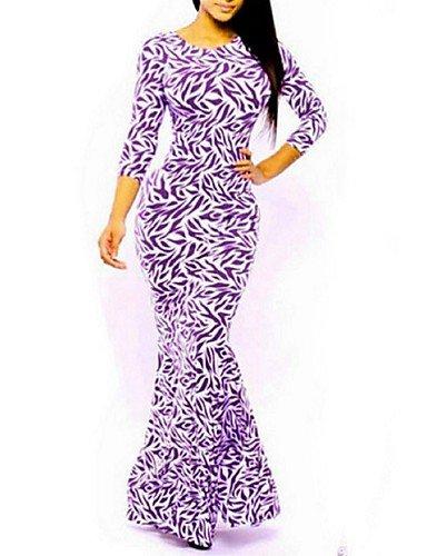 PU&PU Robe Aux femmes Moulante Street Chic,Imprimé Col Arrondi Maxi Polyester , purple-l , purple-l