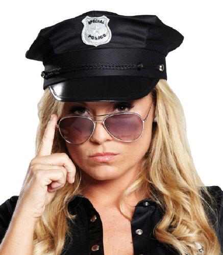 Karneval Zubehör Polizei Mütze schwarz zum Polizisten Kostüm Gr.57