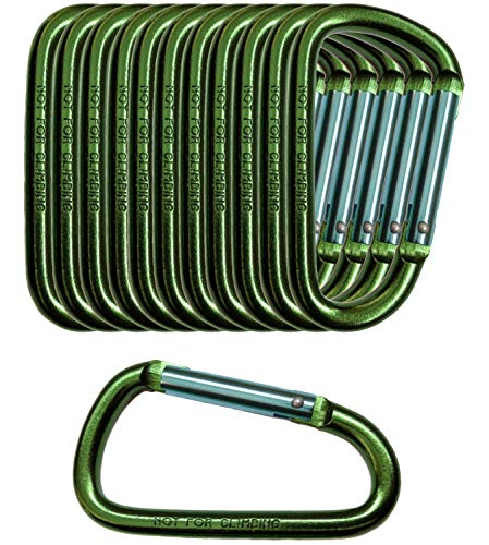 Gold Lion Gear 12 Pack - 3 Green Aluminum Carabiner D Shape Buckle Pack, Keychain Clip, Spring Snap Key Chain Clip Hook Buckle (Green 3 (12 Pack))