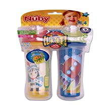 Nuby 531018KS Clik-It Insulated Knight Plus Space No-Spill Cool Sipper for 18 Month Plus Children(2 Pack), 9 oz(270ml), Yellow, Blue