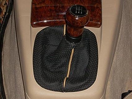 RedlineGoods Shift Boot Compatible with Volkswagen Passat B5 1997-04 Black Alcantara-Blue Thread