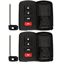 KeylessOption Keyless Remote Smart Car Uncut Blank Key Fob Case Shell Cover Housing For HYQ14FBA (Pack of 2)