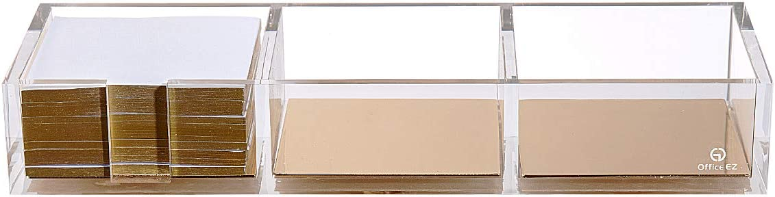 Clear Acrylic and Gold Note Holder with Cube Memo Pad 300 Sheets, 3 Section Drawer Organizer,Cool Desktop Accessories
