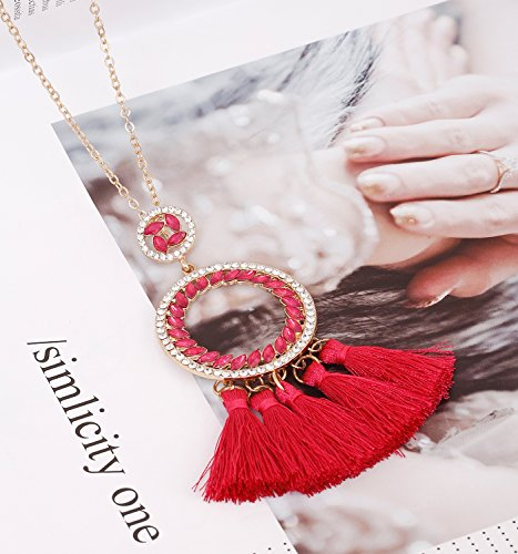 PHALIN JEWELRY Long Chain Necklace Crystal Circle Pendant Necklaces Delicate Bohemia Tassel Necklace for Women Girls by PHALIN JEWELRY (Image #2)