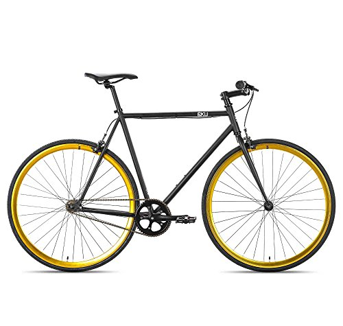 6KU Nebula 2 Fixed Gear Bicycle, Matte Black/Gold, 58cm
