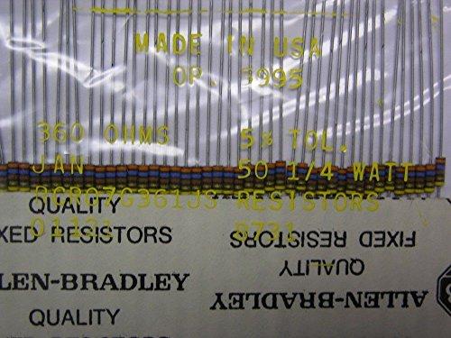 50 Mil-Spec Allen Bradley RCR07G361JS 360 Ohm 1/4W 5% Carbon Comp (Allen Bradley Carbon Comp Resistor)