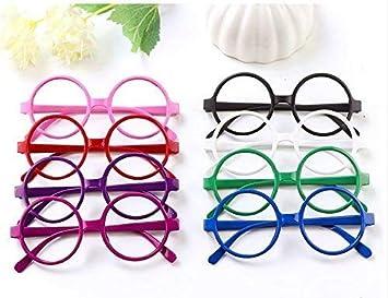 Mydio - Juego de 8 marcos de gafas de estilo hippie redondos de plástico, sin lentes, marco de gafas redondo para disfraz de niño o niña y accesorios de fiesta de Halloween: