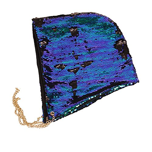 Check Needlepoint (Menglihua Cool Mermaid Sequins Halloween Party Reversible Hood Earmuffs Hat Gift BlueBlack One Size)