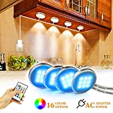 glass kitchen cabinets BASON RGB Under Cabinet Lighting, Remote Control LED Puck Lights, Wired Multi Color Changing, Dimmable, Adaptor Powered Shelf Decorative for Kitchen Cabinets Counter, Glass Cabinets, Bookshelf 4 packs